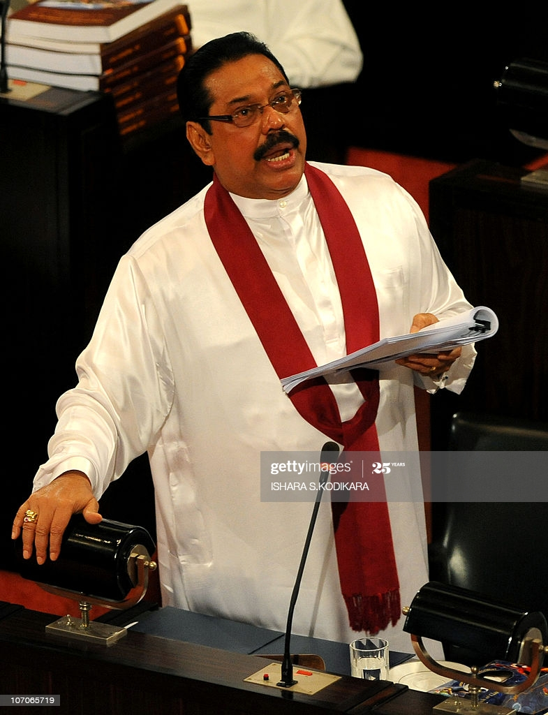 sri lankan president mahinda rajapakse gives a speech on the 2011 at picture id107065719
